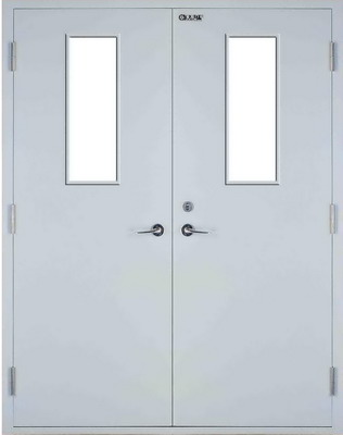 Pair Of Fireproof Hollow Metal Doors With Vision Light