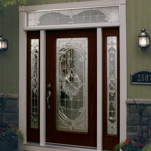 2 Expressions Collection with Satin Nickel Caming Fiberglass residential entry door with top transom and two sidelights.  Fiberglass ... & 2 Expressions Collection with Satin Nickel Caming   SECURADOOR.ORG