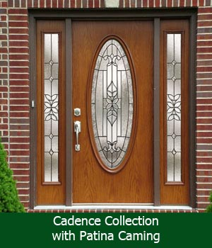 entry door with single sidelight solistice glass with patina caming