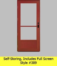 Self Storing Aluminum Storm Door #389 Includes Full Screen