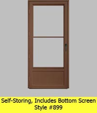 Self Storing Aluminum Storm Door #899 Includes Bottom Screen
