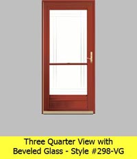 Three Quarter View Aluminum Storm Door #298-VG with Beveled Glass